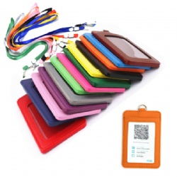 PU Leather ID Badge with lanyard